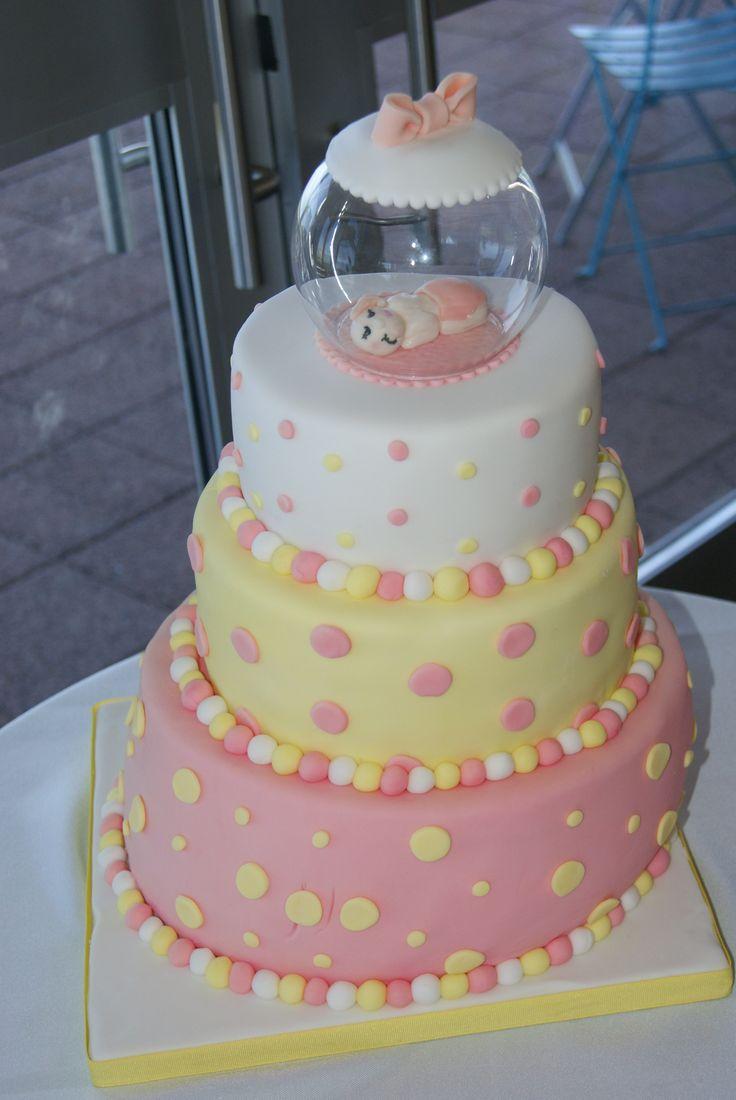 pink yellow baby shower cake janice 39 s pink yellow polka dot th