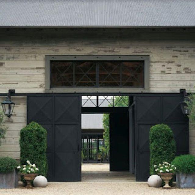 Barn doors exteriors pinterest for Modern exterior sliding doors