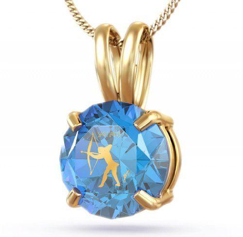 14kt Gold December Birthstone Jewelry - Blue Topaz Sagittarius Pendant ...