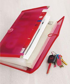 Accordion file folder for glove compartment organization