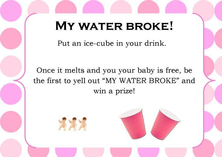 my water broke baby shower game pink polka dot theme