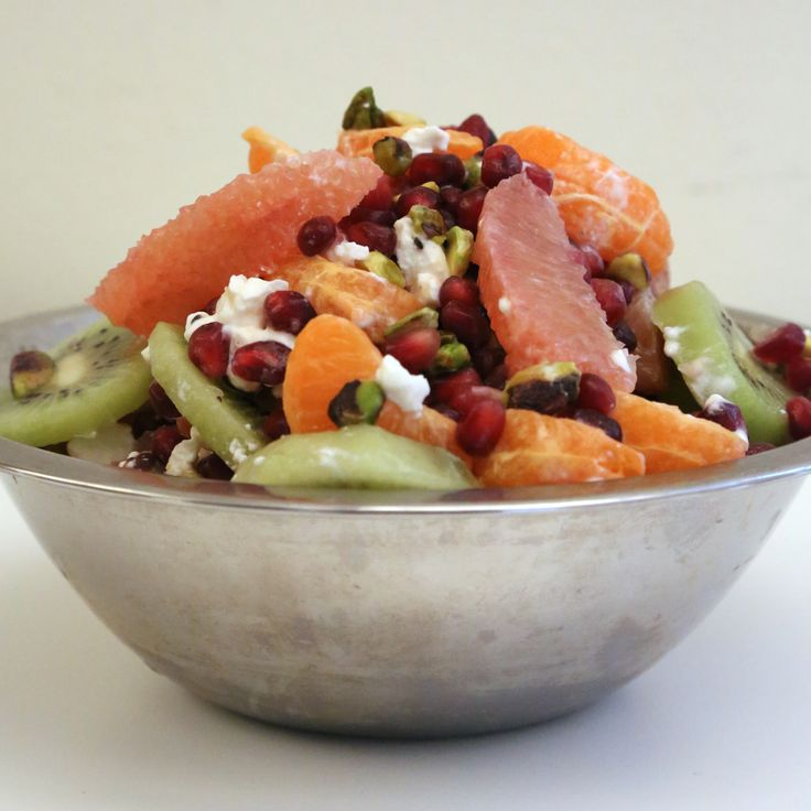 End-of-Winter Fruit Salad - Pomegranate seeds, tangerine, kiwi ...