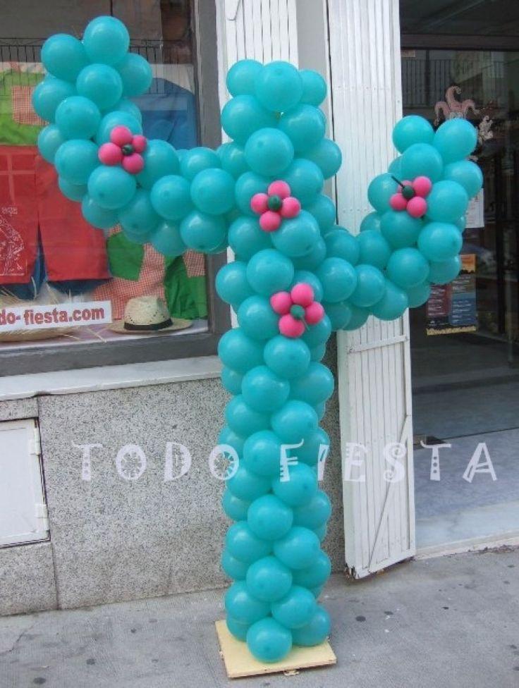 Cactus con globos para fiesta mexicana party ideas - Globos para fiesta ...