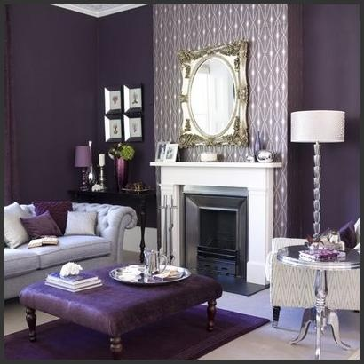 Purple gray w white accents trim home decor pinterest - Purple and grey living room accessories ...