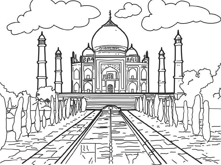 Taj Mahal Coloring Sheet Coloring Pages Taj Mahal Coloring Page