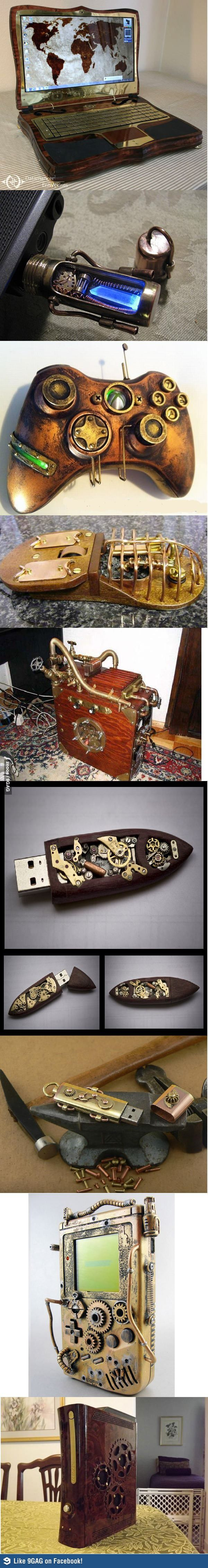 Steampunk gadgets. Love the laptop.