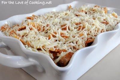 turkey italian sausage, mushroom, marinara and ricotta pasta bake