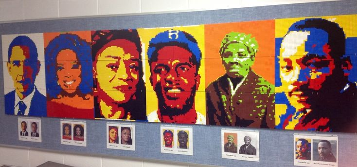 Black history lego mural how to portraits pinterest for Black history mural