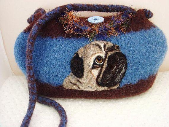 Felted Purse Pug Dog denim brown by FeltedFantasies on Etsy, $170.00