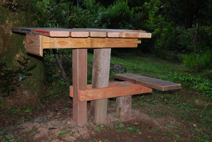 Great homemade shooting bench home stuff pinterest for Homemade log bench