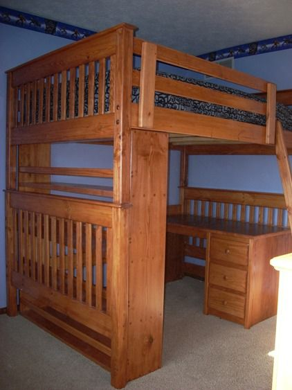 Full Size Loft Bed with Desk 422 x 563
