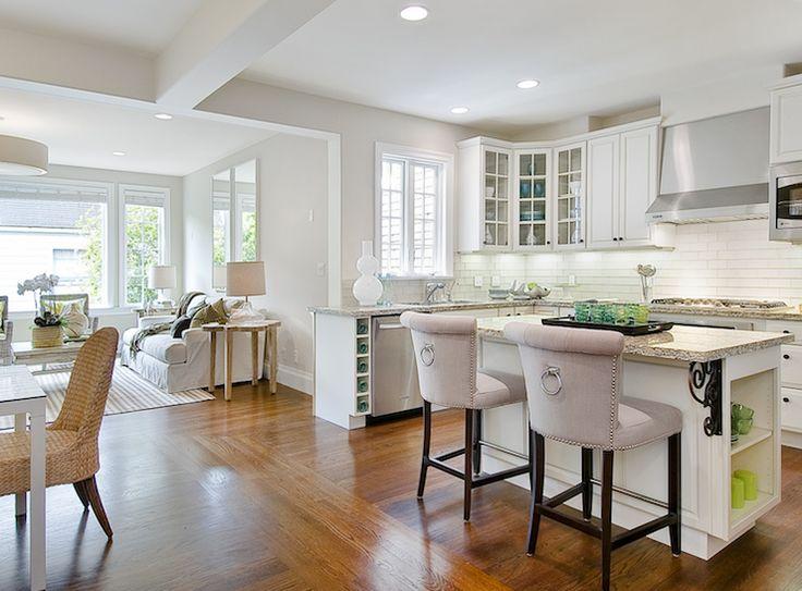 open floor plan with greige paint color. Black Bedroom Furniture Sets. Home Design Ideas