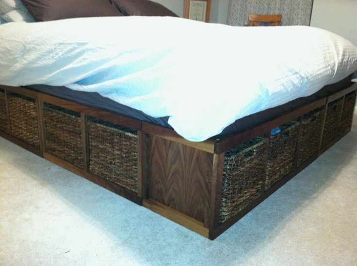Do it yourself home made platform king-size bed. Walnut veneer plywood ...