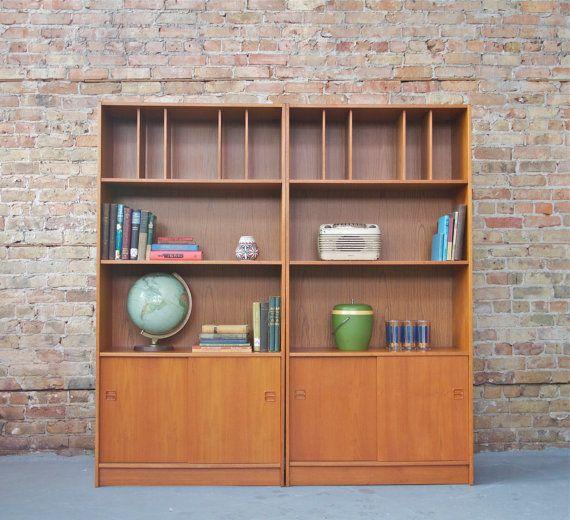 Mid century danish modern teak bookcase wall unit entertainment center 2 available price - Modern bookshelf wall unit ...