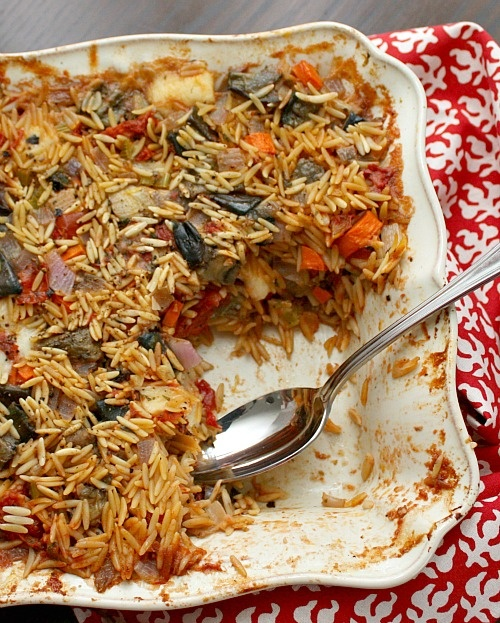 Baked Orzo with Eggplant and Mozzarella | Clean Eating Pasta Dishes ...
