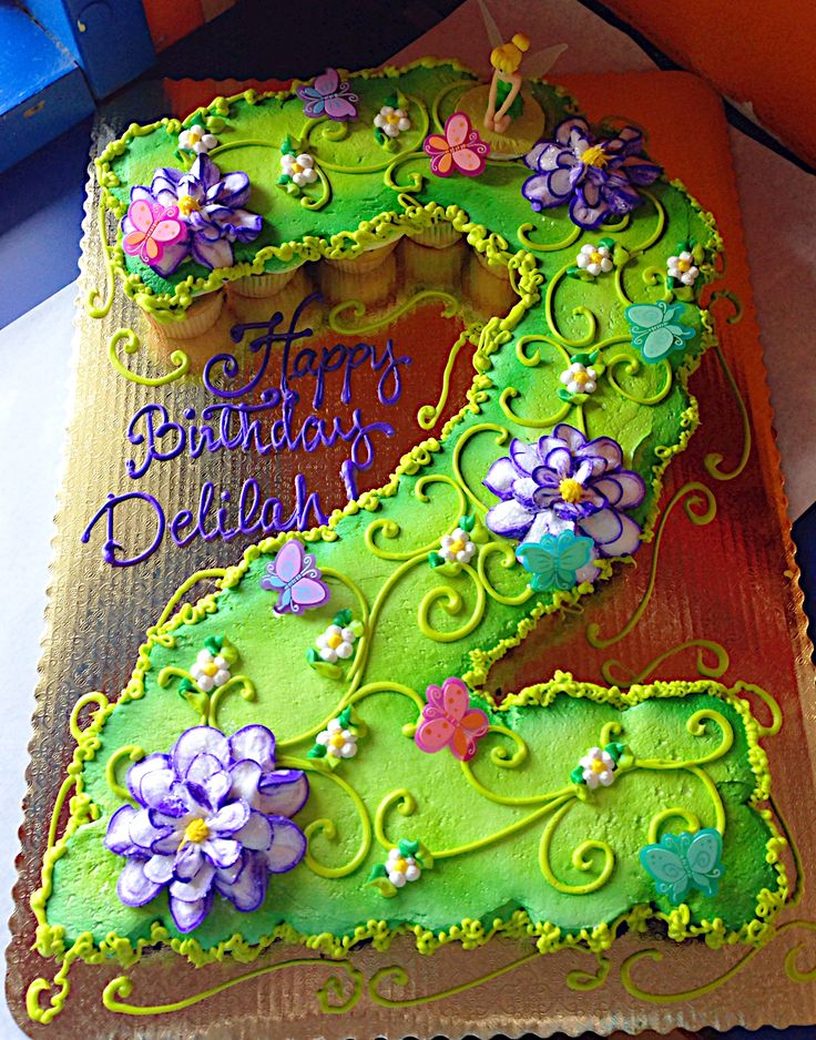 Birthday Cake Ideas Made Out Of Cupcakes : Pull apart cupcakes second birthday Tinkerbell