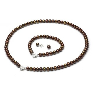 Chocolate fw pearl 3 piece jewelry set with white leatherette box 6 7