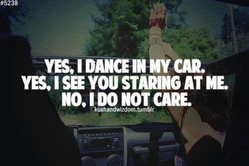 Dancing in the car!