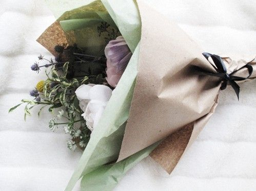 mint tissue paper with flowers