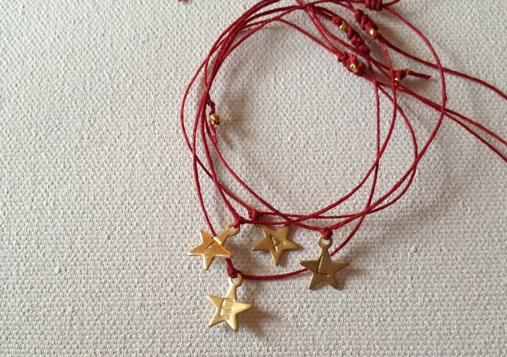 Tiny Star Adustable Red String Bracelet