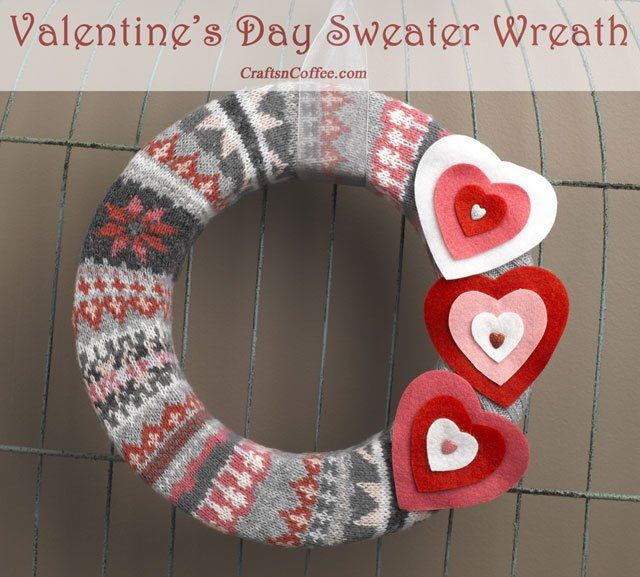 Sweet & easy wreath made with an old sweater. CraftsnCoffee.com