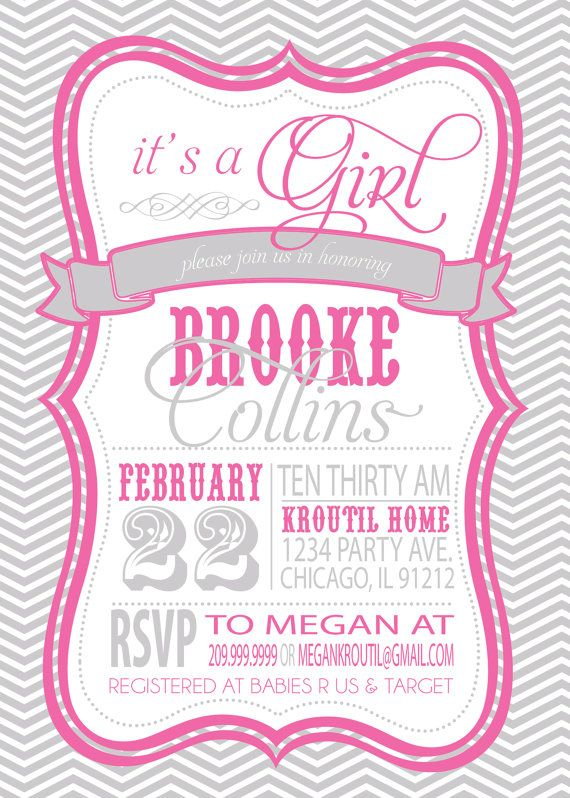 baby shower invitation pink and grey