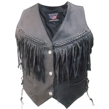 Allstate Leather: Women's Braided & Fringed Black Leather Vest