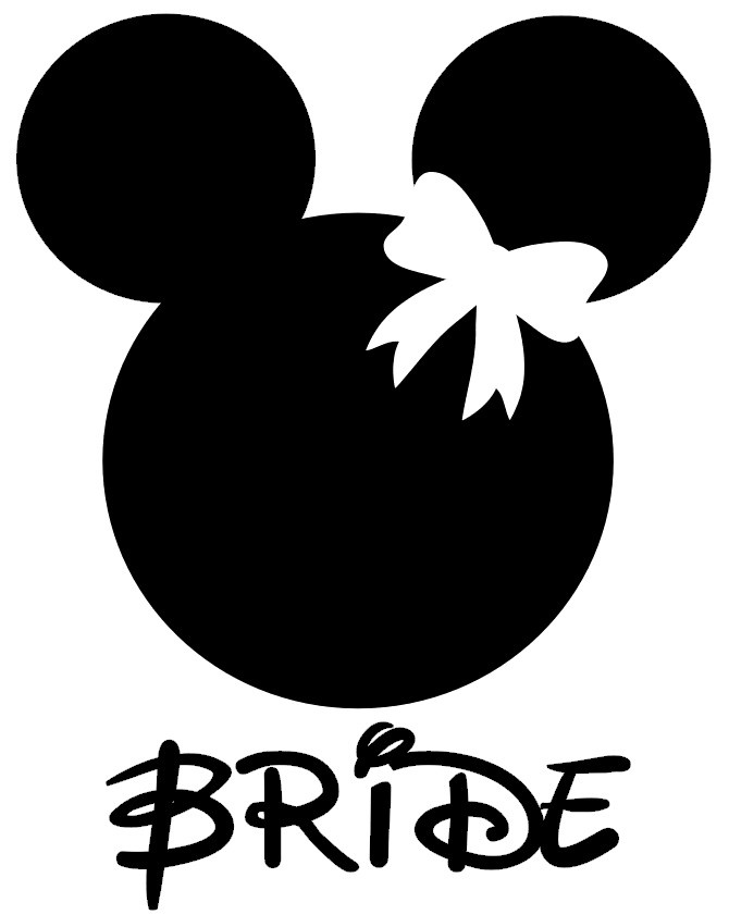 Mickey And Minnie Bride And Groom Silhouette Personalized minnie bride ...
