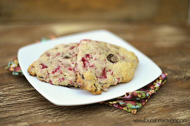 raspberry scones with chocolate