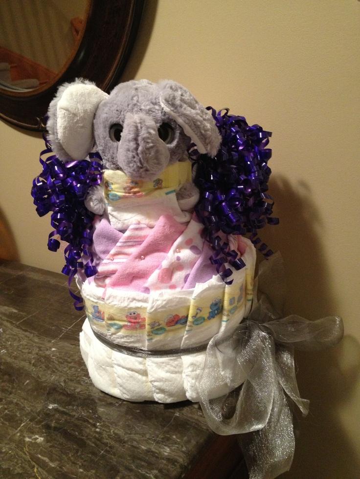 Elephant Diaper Cake | Pink Elephants...Baby Shower ...