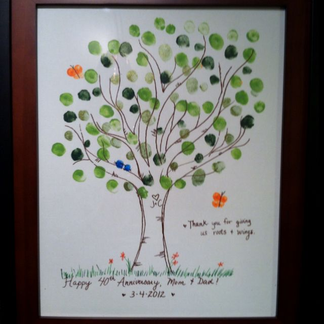 Ideas For 40th Wedding Anniversary Gifts For Parents : 40th anniversary gift for my parents; fingerprint tree.