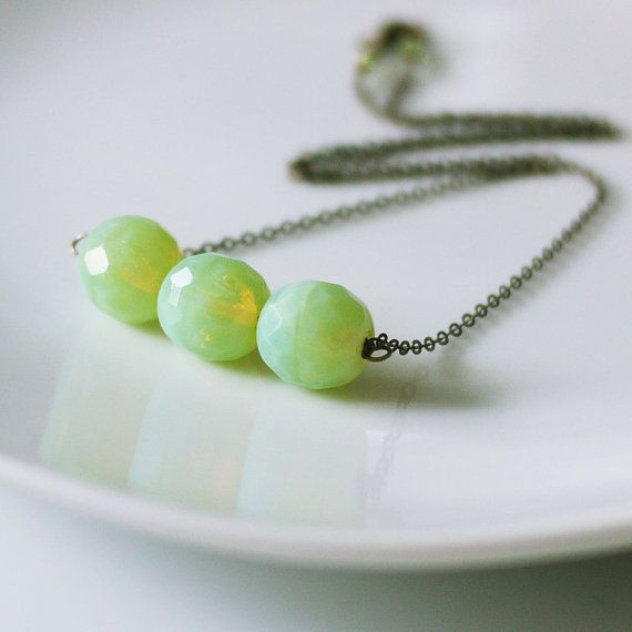 Key Lime Candy. Oxidized Sterling Silver Necklace. Light Green Czech ...