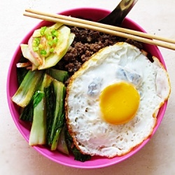 stir fry bok choy, lamb and fried eggs | Lamb | Pinterest