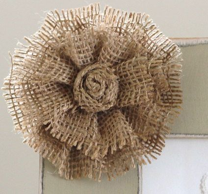 Add on large burlap flower for How to make hessian flowers