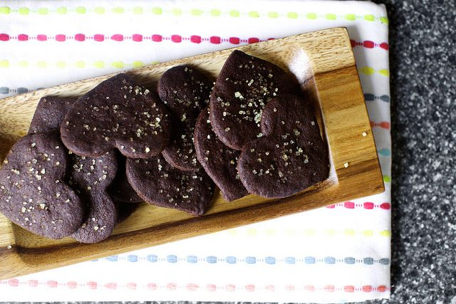 intensely chocolate sables. the heart shape and the turbinado sugar ...