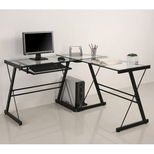 Glass and metal corner computer desk multiple colors - Computer table in walmart ...