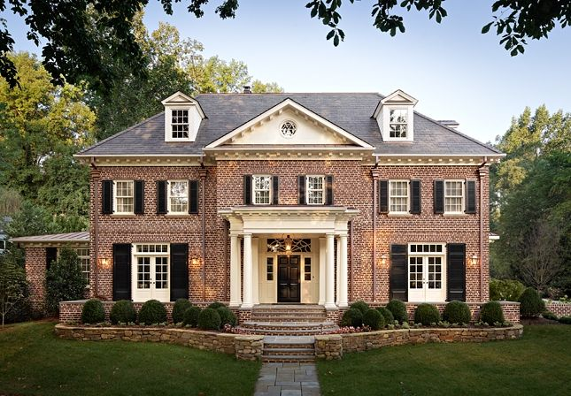 Red brick and shutters for the home pinterest for All brick homes