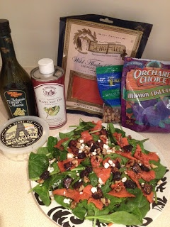 Smoked Salmon and Fig Salad with Goat Cheese and Walnuts