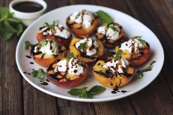 Grilled Peaches With Whipped Coconut Cream, Honey Balsamic Drizzle ...