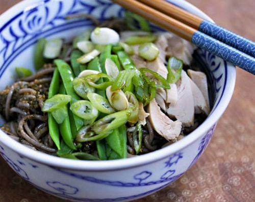 spicy pesto soba with chicken and snow peas from The Perfect Pantry ...