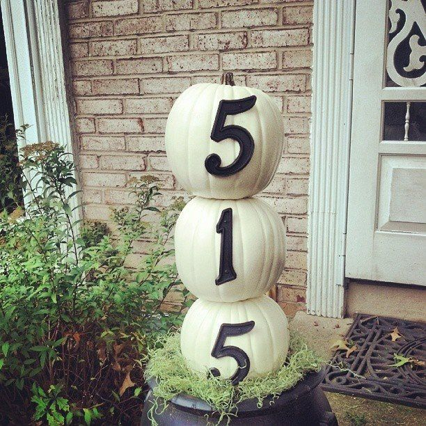 Fall Decorating Ideas for Entry & Outdoor Spaces: Elegant white pumpkin topiary tree by @Julie McCrary Julie McCrary.