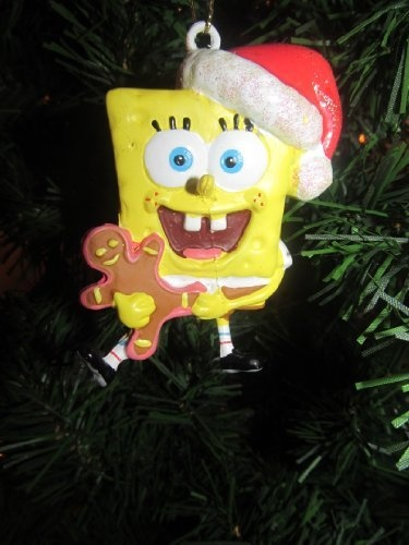 ... Spongebob Squarepants holding gingerbread man Christmas tree ornament