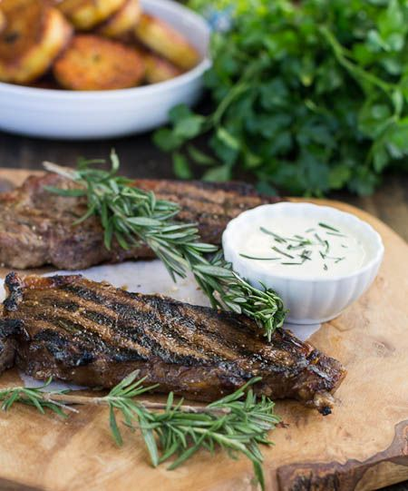 New York Strip Steaks with Horseradish Mustard Sauce | Recipe