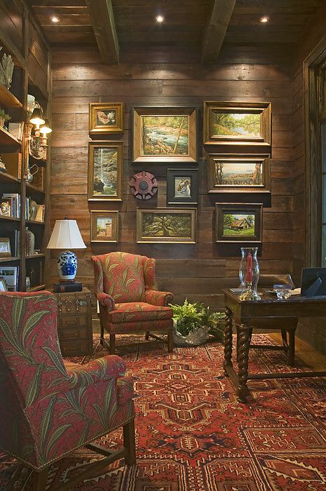 Wood walls, red accents, barley leg desk, blue and white lamp - Wright Design in South Carolina