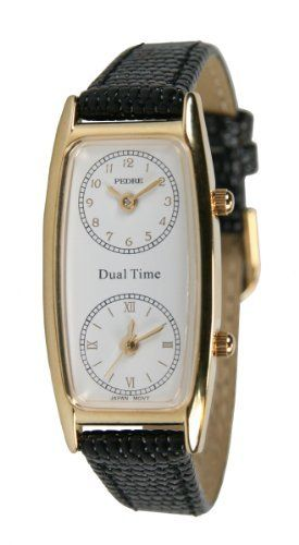 Pedre Women's Traveler Series Gold-Tone Dual Time Leather Strap Watch # 6645GX Pedre. $29.95. Two Accurate Japanese Quartz Movements. White Ceramic coated Dial. Great for Flight Attendants and Travelers. Includes Gift Box and Lifetime Limited warranty. Elegant Gold Tone Tonneau Case with Genuine Leather Strap. Save 67%!