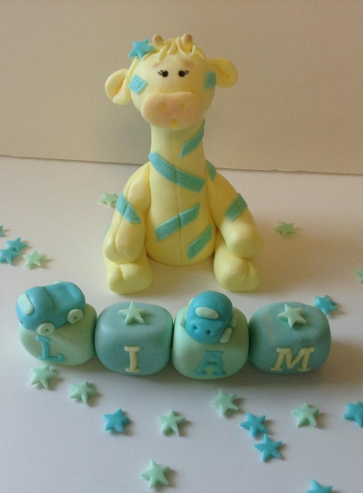 Etsy Cake Decorations : FONDANT GIRAFFE CAKE Topper Baby Shower first birthday ...