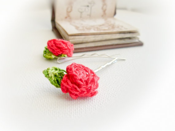 Roses Crochet flowers hairpin Shabby chic