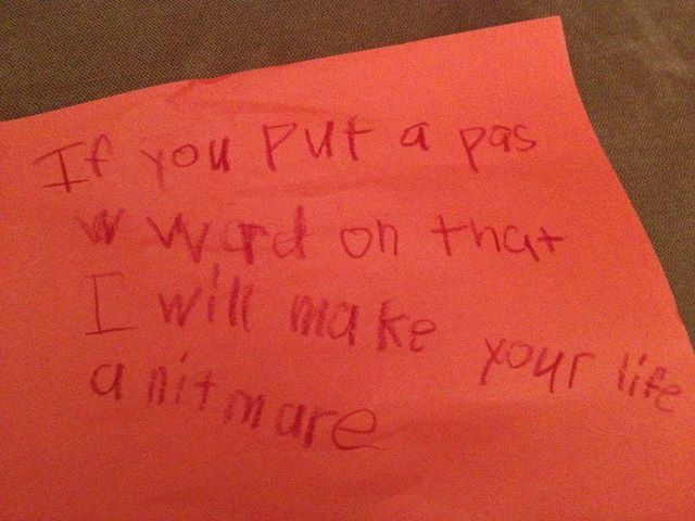 The Most Threatening Note About Internet Access Ever Left By A 7-Year-Old Child