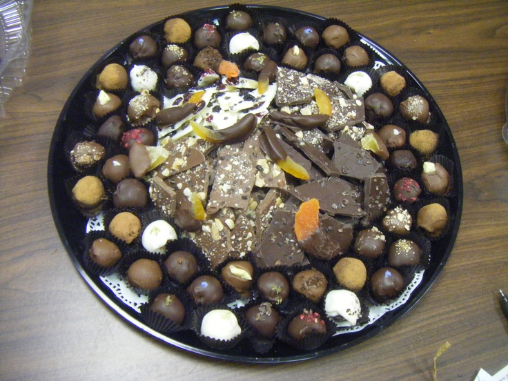 Gourmet Truffles, Tropical Fruits, and Decadent Chocolate Bark platter ...