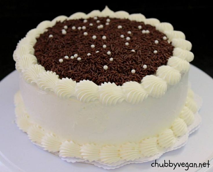Vanilla cake with chocolate and homemade cocoa butter whipped cream # ...